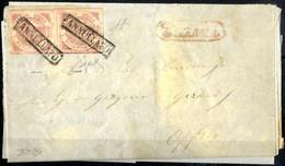 Cover 1858, Lettera Spedita Nell'aprile 1858 Da Palmi A Oppido, Affrancata Con Una Coppia Verticale Del 1/2 Grano I Tavo - Napels