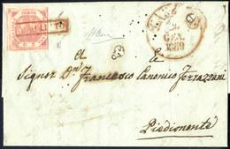 Cover 1858, Lettera Del 4.1.1859 Da Caserta A Piedimonte, Affrancata Con 2 Grana Rosa Chiaro I Tavola, Tre Ampi Margini, - Napels