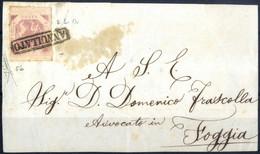 Cover 1858, Frontespizio Di Lettera Diretta A Foggia, Affrancata Con 2 Grana Lilla Rosa, Tre Ampi/buoni Margini, A Filo/ - Napels