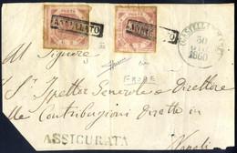 Piece 1860, Gran Parte Di Frontespizio Di Assicurata Del 30.6.1850 Da Castellamare A Napoli, Affrancata Con Due Esemplar - Napels