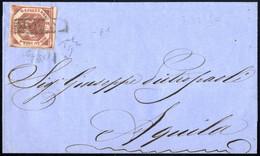 Cover 1859, Lettera Del Novembre 185.. Da Napoli Ad Aquila, Affrancata Con 2 Grana Carminio Cupo I Tavola Molto Ben Marg - Napels