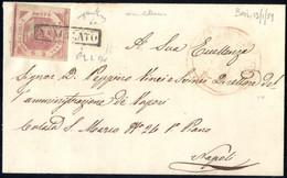 """Cover 1859, Lettera Del 12.1.1859 Da Bari A Napoli, Affrancata Con 2 Grana Rosa Lillaceo Con Ampi Margini, """"ANNULLATO"""" P - Napels"""