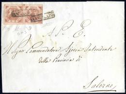 Cover 1858, Lettera Del 7.8.1858 Da Napoli A Salerno, Affrancata Con Una Coppia Orizzontale Del 2 Grana Rosa Brunastro,  - Napels
