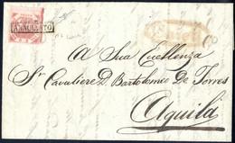 Cover 1858, Lettera Del 28.6.1858 Da Chieti Ad Aquila, Affrancata Con 2 Grana Rosso Mattone, Ampi Margini E Bordo Di Fog - Napels