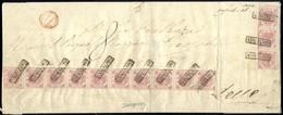 Cover 1860, Grande Plico Spedito Da Napoli Il 3.7 Per Lecce Affrancato Con 2 Grana Rosa Chiaro Tavola III, Striscia Vert - Napels