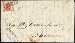 Cover 1861, Lettera Del 5.2.1861 Da Napoli A Taranto, Affrancata Con 2 Grana Carminio Violaceo III Tavola, Ampi Marigini - Napels