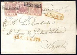 Cover 1858, Lettera Assicurata Del 31.3.1858 Per Napoli, Affrancata Con Bella Tricolore 1 Gr. + 2 Gr. + 5 Gr. (I Tavola) - Napels