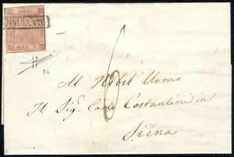 Cover 1859, Lettera Del Maggio 1859 Da Napoli A Siena (Toscana), Affrancata Con 5 Grana Rosa Mattone, Tre Ampi Margini,  - Napels