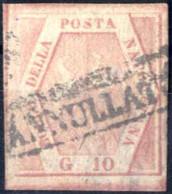 O 1859, 10 Gr. Carminio Rosa, II Tavola, Ampi Margini, Sass. 11 / 750,- - Napels