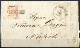 Cover 1860, Lettera Del 19.5.1860 Da Gallipoli A Napoli, Affrancata Con 10 Grana Carminio Rosa II Tavola Per Lettere Di  - Napels