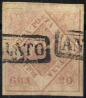 O 1859, 20 Gr. Rosa Chiaro, II Tavola, Cert. Sorani, Sass. 13 / 2500,- - Napels