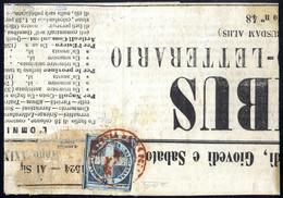 """Cover 1861, Giornale Di Napoli """"Omnibus"""" Del Febbraio, Affrancato Con Una Crocetta Di Colore Azzurro Cupo, Annullato Con - Napels"""