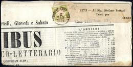 Cover 1861, Giornale L'Omnibus Del 2.5.1861 Da Napoli A Trani, Affrancato Con 1/2 Tornese Verde Giallo Chiaro Ben Margin - Napels