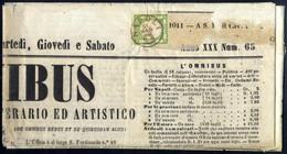 Cover 1862, Giornale L'Omnibus Spedito Da Napoli A Campobasso, Affrancato Con Province Napoletane 1/2 T. Verde Con Due M - Napels