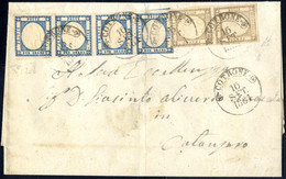 Cover 1861, Lettera Del 16.9.1861 Da Crotone A Catanzaro, Affrancata Con Una Coppia Verticale Del 1/2 Grana Bistro Bruno - Napels