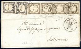 Cover 1861, Lettera Del 24.10.1861 Da Auquila A Sulmona, Affrancata Con Una Striscia Verticale Di Quattro Del Mezzo Gran - Napels