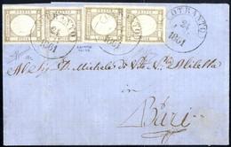 Cover 1861, Lettera Del 24.7.1861 Da Otranto A Bari, Affrancata Con Due Coppie Verticali Del Mezzo Grana, Ampi Margini R - Napels