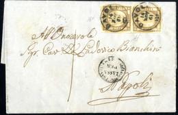 Cover 1861, Lettera Completa Del Testo Del 14.11.1861 Da Davoli Per Napoli, Affrancata Con Una Coppia Verticale Del 1/2  - Napels