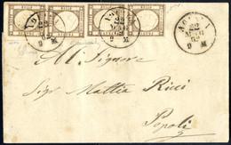 Cover 1862, Lettera Del 22.5.1862 Da Aquila A Popoli, Affrancata Con Una Striscia Verticale Di Quattro Del 1/2 Grana Bru - Napels
