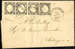 Cover 1861, Lettera Da Cotrone Il 24.9. Affrancata Con Striscia Di Quattro 1 Grano Nero Grigiastro Con Tracce Di Filetto - Napels