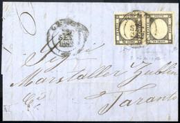 Cover 1862, Lettera Del 289.1862 Da Galatina Per Taranto, Affrancata Con Una Coppia Orizzontale Dell' 1 Grana Nero, Ampi - Napels
