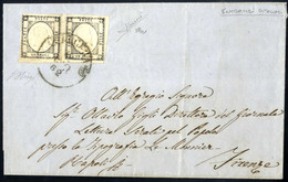 Cover 1862, Lettera Del 12.8.1862 Da Lucera A Firenze, Affrancata Con Due Esemplari Dell'un Grana Grigio Scuro, Entrambi - Napels