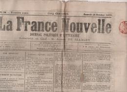 LA FRANCE NOUVELLE 14 10 1871 - RESULTATS ELECTIONS - ECOLES MILITAIRES - SATORY - JOIGNY - ALSACE LORRAINE - AMPUIS - 1850 - 1899