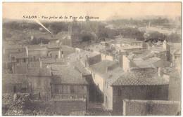 SALON DE PROVENCE :  VUE PRISE DE LA TOUR DU CHÂTEAU - CORRESPONDANCE DETAIL D'UN MENU A 35 SOUS - CIRCULEE - Salon De Provence