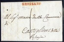 Cover 1809, Lettera Da Roccastrada Del 14 Set. Con Bollo Grosseto Lineare Rosso Per Castiglion Della Pescaia, Cert. V.Al - Toskana
