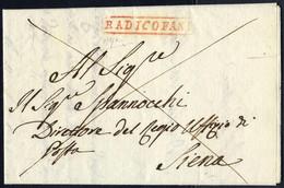 Cover 1814, Lettera Con Bollo Lineare In Cartella Rossa Radicofani Del 13 Mag.1814 Per Siena, Cert. V. Alfano - Toskana