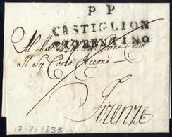 Cover 1833, Lettera Del 17.8.33 Da PP/CASTIGLION/FIORENTINO Per Firenze, Al Verso Bollo D'arrivo, Punti 9 - Toskana