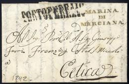 Cover 1842, Lettera Del 9 Sett. Con Bollo Su Tre Righe Marina Di Marciana + Lineare Portoferrario Diretta A Cetica, Raro - Toskana
