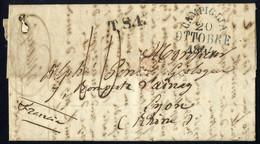 """Cover 1844, Lettera In Porto Dovuto Del 20.10.44 Da Campiglia Per Lione, Timbro """"T.S.1"""", Tassa Manoscritta 10, Al Verso  - Toskana"""