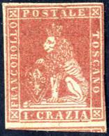 * 1851, 1 Crazia Carminio, Nuovo Con Gomma Originale (traccia Abbastanza Forte), Tre Ampi Margini Con Parte Di Vicino In - Toskana