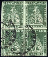 O/bof 1851, Quartina Del 4 Cr. Verde Azzurro Annullata A Firenze, 2 Certificati Alberto Diena, Sass. 4c / 37500,- - Toskana