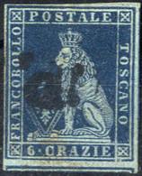 O 1851/52, 6 Cr. Ardesia Su Grigio, Ampi Margini (i Vicini A Destra Ed In Basso), Sass. 7 - Toskana