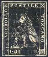 O 1857, 1 Q. Nero, Ampi Margini, Sass. 10 / 1250,- - Toskana