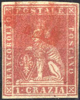 O 1857, 1 Cr. Carminio, Firmato Pfenninger, Sass. 12 / 1400,- - Toskana