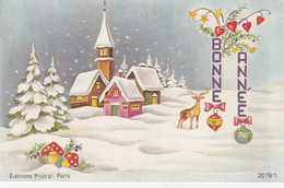 1032 -  CARTE BONNE ANNEE . MAISONS  CERF CHAMPIGNONS EGLISE SAPINS ETOILES PAYSAGE ENNEIGE . PICARD 2076/1 - Neujahr