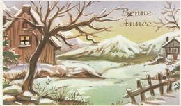 1032 -  CARTE BONNE ANNEE . MAISONS  BARRIERE PAYSAGE ENNEIGE . - Neujahr