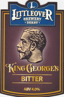 LITTLEOVER BREWERY (DERBY, ENGLAND) - KING GEORGE'S BITTER - PUMP CLIP FRONT - Letreros
