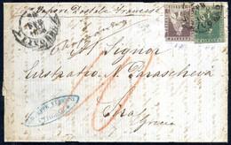 Cover 1858, Lettera Di Primo Porto (fino A 7 1/2 Gr) Del 20.2.1858 Da Livorno A Sira (Grecia) Trasportata Col Vapore Pos - Toskana