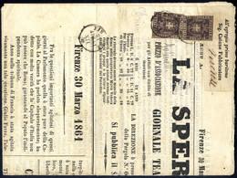 """Cover 1860, 1 Cent. Violetto Bruno, Due Esemplari Su Giornale """"La Speranza"""" Del 30.3.1861 Da Firenze Per Città (S - Toskana"""