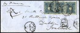Cover 1860, Lettera Da Firenze Il 18.7 Per Dublino (Irlanda) Affrancata Con Striscia Di Tre 20 C. Azzurro Con Bordo Di F - Toskana