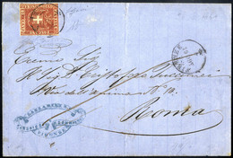 Cover 1861, Lettera Da Firenze Il 28.8 Per Roma Con 40 C. Carminio, 4 Firme, Sass. 21 / 3000,- - Toskana