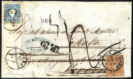 """Cover 1860, """"Frontespizio Di Lettera"""" Da Trieste 11.8.1860 Per Livorno Affrancata Con Austria 15 Kr. Azzurro, Seconda Em - Toskana"""