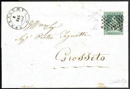 """Cover """"Terranuova"""", Annullo Muto Su 2 Crazie Azzurro Verdastro Su Grigio Su Lettera Del 8.5.1857 Per Grosseto, Splendido - Toskana"""