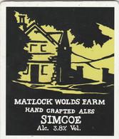 MATLOCK WOLDS FARM ALES (MATLOCK, ENGLAND) - SIMCOE - PUMP CLIP FRONT - Letreros