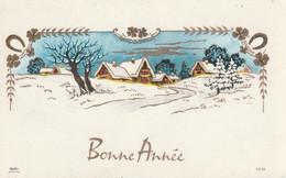 1032 -  CARTE BONNE  ANNEE . MAISONS ROUTE ARBRES FERS A CHEVAL TREFLES 4 FEUILLES  PAYSAGE ENNEIGE . PHOTOCHROM 10182 - Neujahr