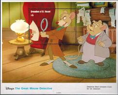 MWD-BK4-221-2 MINT PF/MNH ¤ GRENADINES OF ST. VINCENT 1992 BLOCK ¤ BASIL THE GREAT MOUSE DETECTE FRIENDS OF WALT DISNEY - Disney